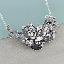 Mermaid Shells Sterling Silver Collar Necklace | Kabana Jewelry | KP437