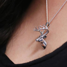 Deer Bust Sterling Silver Pendant Necklace | Kabana Jewelry | KSP500