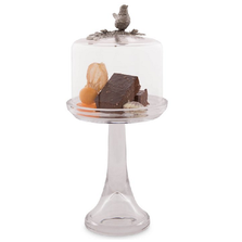 Song Bird Dessert Stand with Glass Dome | Vagabond House | VHCK445TSB -1