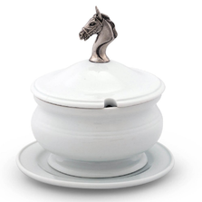 Horse Head Stoneware Covered Bowl | Vagabond House | VHCH326HH