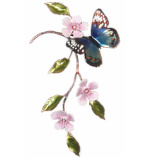 Bovano Blue Beauty with Cherry Blossums Butterfly Wall Art | W150