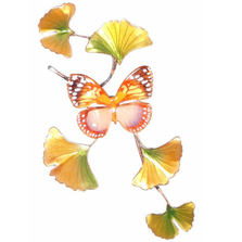 Bovano Forest Queen Butterfly on Ginkgo Branch Wall Art | W143