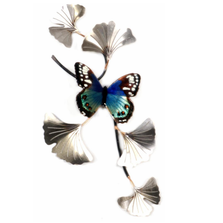Bovano Blue Beauty on SS Ginkgo Branch Butterfly Wall Art | W140SS