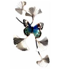 Bovano Blue Beauty on SS Ginkgo Branch Butterfly Wall Art | W140SS
