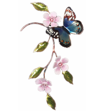 Bovano Blue Eyemark on SS Ginkgo Branch Butterfly Wall Art | W141SS