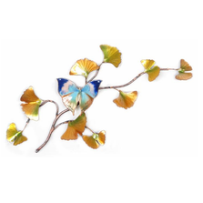 Bovano Oak Leaf on Enameled Ginkgo Branch Butterfly Wall Art | W132