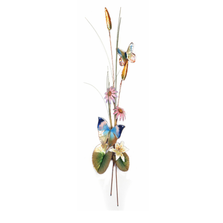 Bovano Oak Leaf and Teal Satyr with Cone Flower Butterfly Wall Art | W7645
