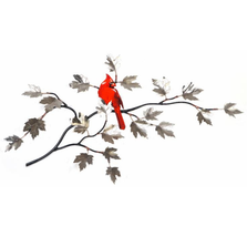 Bovano Cardinal on Stainless Maple Branch Bird Wall Art | W4464SS