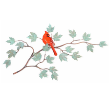 Bovano Cardinal on Patina Maple Branch Bird Wall Art | W4464Pat