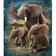 "Elephant Faux-Fur Blanket ""Playful Elephants"" 