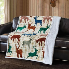 Deer Life Flannel Sherpa Throw Blanket | DTR10042