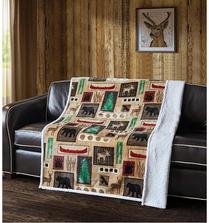 "Bear Flannel Sherpa Throw Blanket ""Lake Living"" | DTR10018"