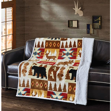 "Bear Flannel Sherpa Throw Blanket ""Wildlife Watch"" 