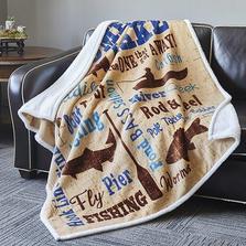 "Fish Flannel Sherpa Throw Blanket ""Lake Fishing"""