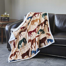 Horse Flannel Sherpa Throw Blanket | DTR686