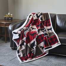 "Moose Flannel Sherpa Throw Blanket ""Lodge Life"" 