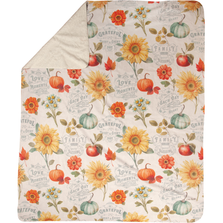 "Floral Sherpa Fleece Throw Blanket ""Autumn in Bloom""  SAABLM"
