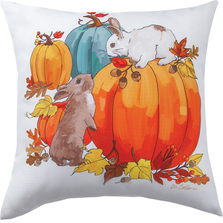 Bunnies and Pumpkins Indoor Outdoor Throw Pillow | SLBNPP