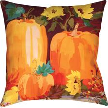 Pumpkins and Sunflowers Indoor Outdoor Throw Pillow | SLPPSF