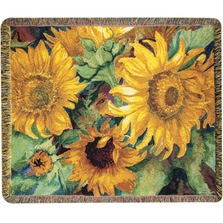 "Sunflower Tapestry Throw Blanket ""Sunny Faces"" 