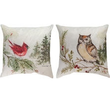 "Cardinal and Owl Indoor Outdoor Throw Pillow ""Snowy Forest"" 
