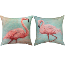 Pink Flamingo Indoor Outdoor Throw Pillow | SLPKFL