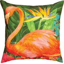 "Flamingo Indoor Outdoor Throw Pillow ""Flora In The Jungle"" 