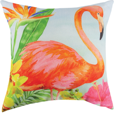 "Flamingo Indoor Outdoor Throw Pillow ""Flora In Flowers"" 