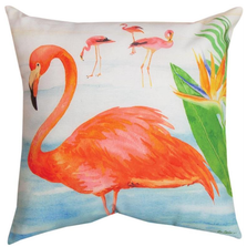 "Flamingo Indoor Outdoor Throw Pillow ""Flora In Ocean"" 