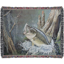 Large Mouth Bass Tapestry Throw Blanket | ATLMBS