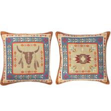 "Bull Indoor Throw Pillow ""Southwest At Heart"" 