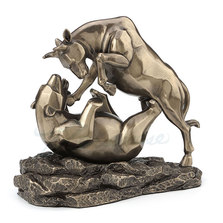 "Bull and Bear Fight Sculpture ""Stock Market"" 