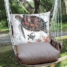 "Sea Turtle and Baby Hammock Chair Swing ""Chocolate"" 