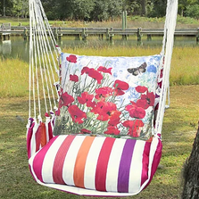 "Red Poppies Hammock Chair Swing ""Cristina Stripe"" 