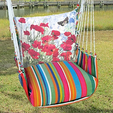 "Red Poppies Hammock Chair Swing ""Le Jardin"" 