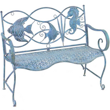 Seahorse and Fish Iron Garden Bench | Zaer International | ZR160016
