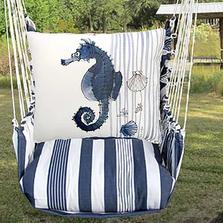 "Seahorse Hammock Chair Swing ""Marina Stripe""   Magnolia Casual   MARR916-SP"
