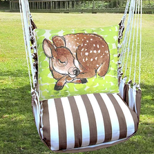 "Sleeping Deer Hammock Chair Swing ""Striped Chocolate"" 