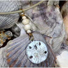 "Sand Dollar White Chocolate Patina Pendant ""White Turquoise"" | Elaine Coyne Jewelry | ECGOCW50PD"