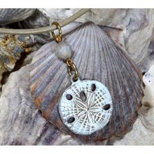 Sand Dollar White Chocolate Patina Pendant with Swarovksi Crystals | Elaine Coyne Jewelry | ECGOCW50PDCR