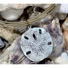 Large Sand Dollar White Chocolate Patina Pendant | Elaine Coyne Jewelry | ECGOCW507PD