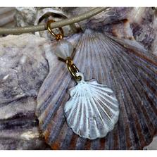 Scallop Shell White Chocolate Patina Pendant with Swarovksi Crystals | Elaine Coyne Jewelry | ECGOCW4852PDCR