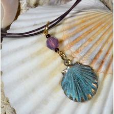 Verdigris Patina Brass Scallop Shell Necklace with Swarovski Crystal | Elaine Coyne Jewelry | ECGOCP4852PDCR