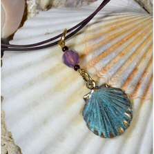 Verdigris Patina Brass Scallop Shell Necklace with Swarovski Crystal | Elaine Coyne Jewelry | ECGOCP4852PDCR