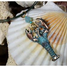 Lobster Verdigris Patina Brass Necklace with Swarovski Crystal | Elaine Coyne Jewelry | ECGOCP672PDCR