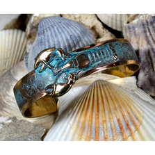 Lobster Verdigris Patina Solid Brass Cuff Bracelet | Elaine Coyne Jewelry | Nature Jewelry | ECGOCP67BC