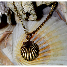 Scallop Shell Antique Gold Brass Pendant Necklace | Elaine Coyne Jewelry | ECGOCG485PDCH