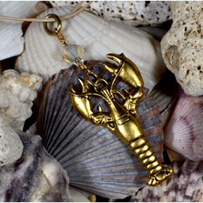 Lobster Antiqued Gold Solid Brass Pendant Necklace with Swarovski Crystal | Elaine Coyne Jewelry | ECGOCP672PDCR