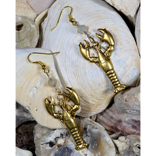 Lobster Antiqued Gold Solid Brass Wire Earrings with Swarovski Crystal | Elaine Coyne Jewelry | ECGOCG672ECR