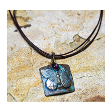Butterfly Verdigris Patina Solid Brass Pendant Necklace with Amethyst | Elaine Coyne Jewelry | ECGBUP129PDAM